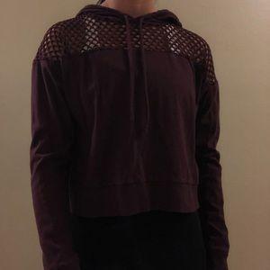 Dark Purple Sweatshirt With Square Holes
